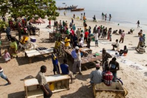 Beach market in East Africa